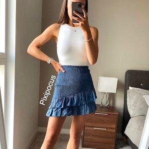 NWT Zara Stretch Smocked Mini Skirt Blue Ombré M